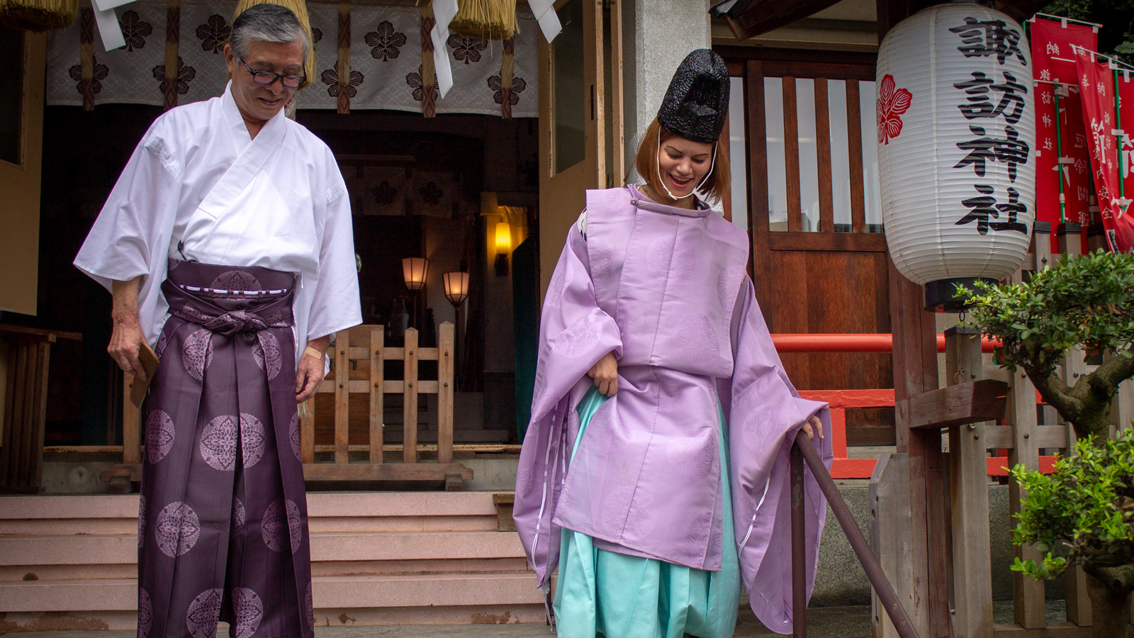 Suwa Shrine visit with Shinto priest costume